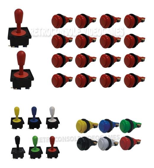 2x Manche Comando Joystick Aegir + 16 Botões Nylon + Micros