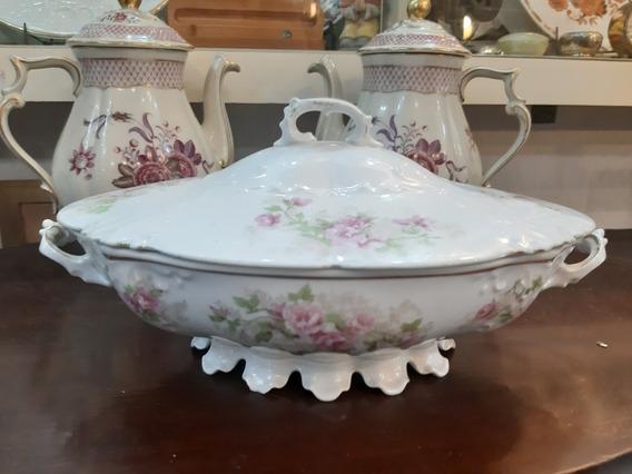 Antigua Sopera Guisera Porcelana Austriaca Florcitas Shabby