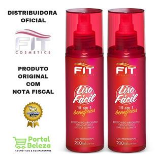 2x Liso Fácil Fluído Termo Ativado 200ml Fit Cosmetics