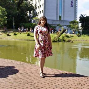 Vestido Godê Estampado Floral Moda Evangélica Eloá 002