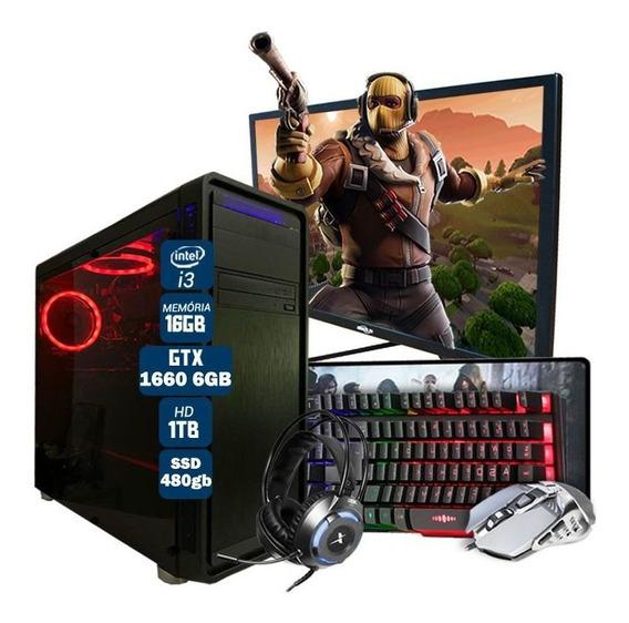 Pc Gamer Completo I3 7º Ger. Gtx 1660 6gb Ssd480gb Mon.27