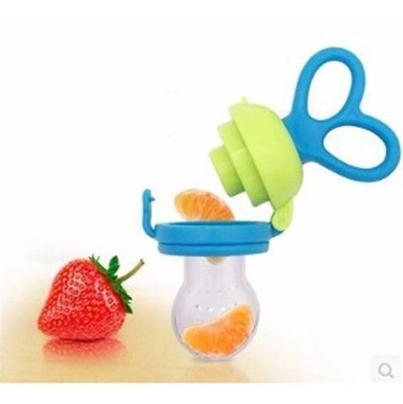 Chupeta Alimentadora Bebes Porta Fruta - Azul E Rosa - Buba