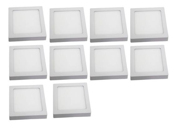 Kit 10 Painel Plafon Quadrado Sobrepor 100% Led 18w Luz Fria