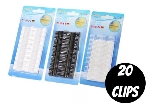 Imagem 1 de 5 de Kit Clip Organizador De Fios E Cabos Adesivo 20un Brinde