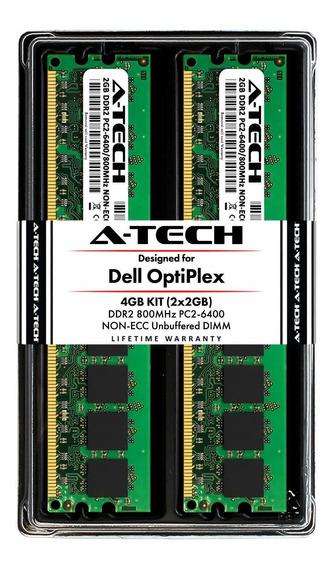 Memoria Ram 4gb A-tech (2 X 2gb) Kit Para Dell Optiplex 960 760 755 745 740 360 330 160 (mt Dt Sff Usff) - Ddr2 800mhz P