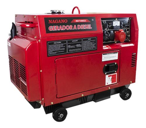 Gerador portátil Nagano ND7100ES3 4800W trifásico com tecnologia AVR 110V/220V