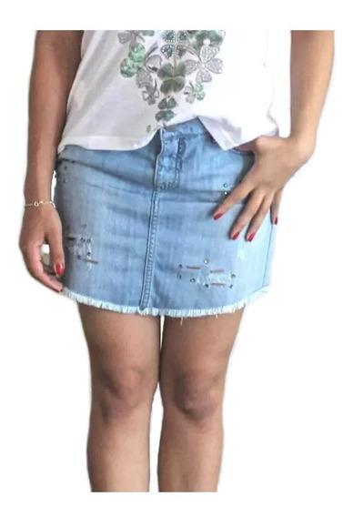 Saia Jeans Curta Rasgadinha Com Pedras Desfiada Minissaia