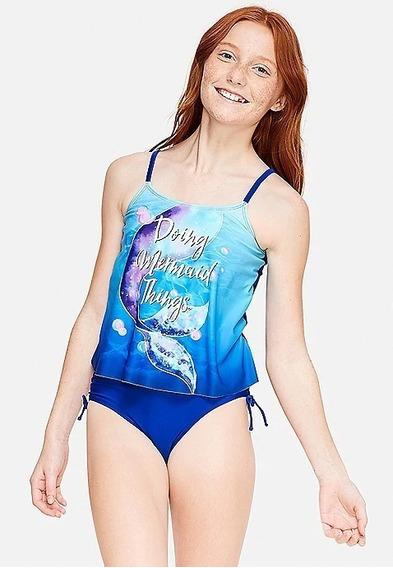 Biquini Justice Tamanho 8 Azul Com Blusinha