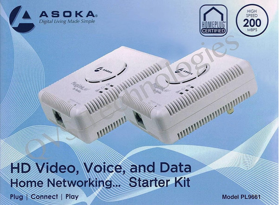 2 Pluglink / Powerline 9661 Asoka Ethernet Adapter - 200mbps