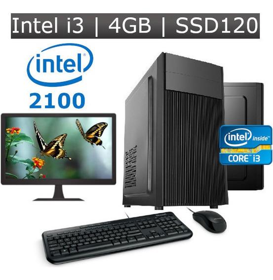 Desktop I3 2100 4gb Ssd 120gb Kit + Monitor 19 2ª Geração