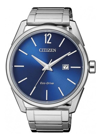 Relógio Citizen Masculino Prata Eco-drive Data Fundo Azul+nf