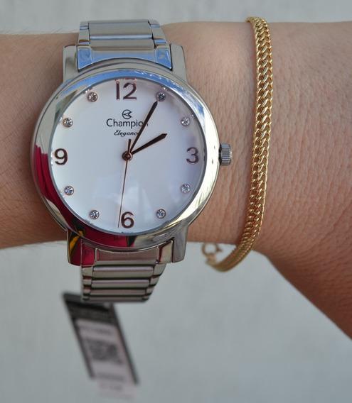 Relógio Champion Feminino Prateado Original