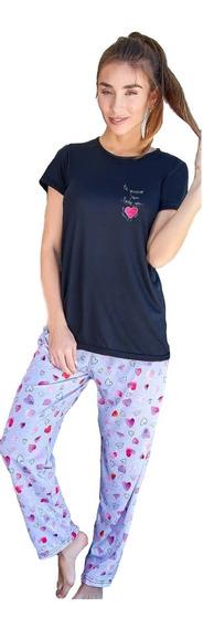 Pijama Manga Corta Invierno Algodón Susurro Talles Grandes