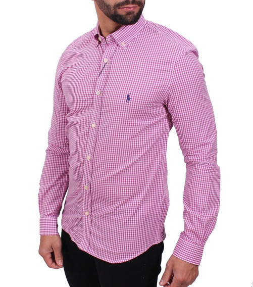 Camisa Ralph Lauren Xadrez Rosa Custom Fit + Frete
