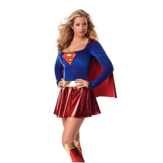 Fantasia Super Girl Adulta Cosplay Traje Supergirl