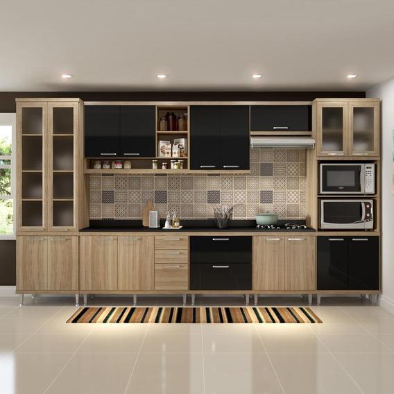 Cozinha Compacta 17 Portas Com Tampo E Vidro 5807