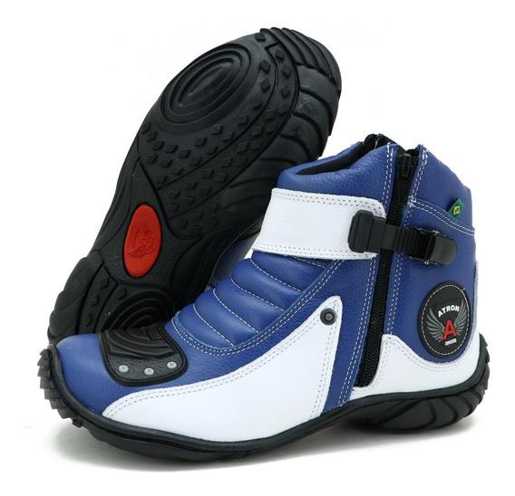 Bota Tênis Motociclista Couro Zipper Atron 271 Azul E Branco