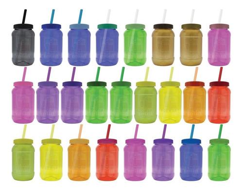 Imagen 1 de 10 de Mason Jar,dulcero,500ml Pigmentado, Popote 50 Pza Lisas