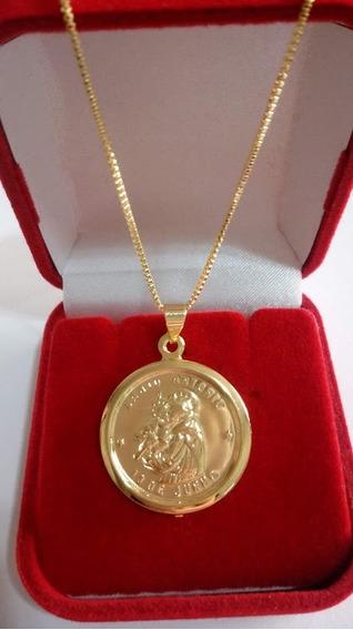 Medalha De Santo Antonio Com Corrente Veneziana 60cm Banhado