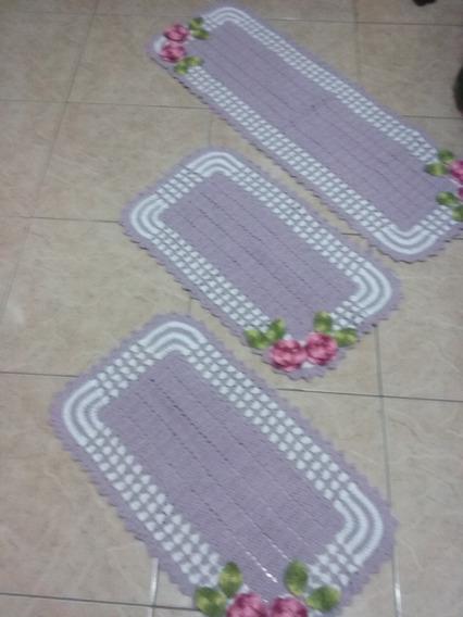 Jogo De Tapete Em Croche Três Peças