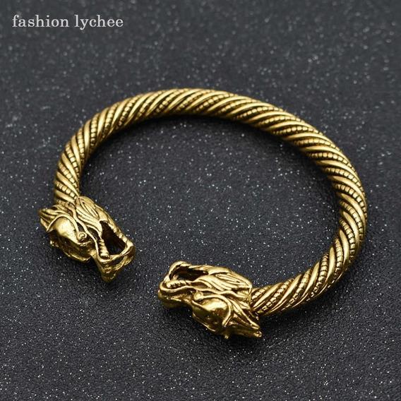 Pulseira Cabeça De Dragão Viking Nórdica Indiana Bali Tibet - Flexível , Se Adapta Ao Punho - Exterior Em Liga De Aço