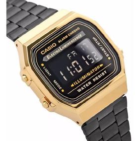 Relógio Casio Original Moda Vintage Dourado E Preto Fundo