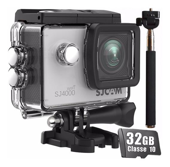 Kit Câmera Sjcam Sj4000 Wifi+ Bastão + 32gb Original Full Hd