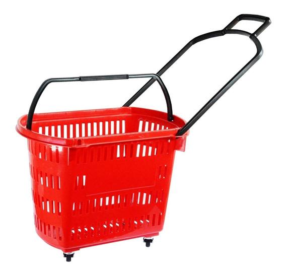 Cesta Supermercado Com Rodas Cestinha Com Rodinha Vermelha