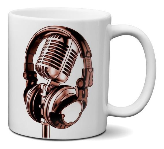 Caneca Arte Microfone Fone De Ouvido