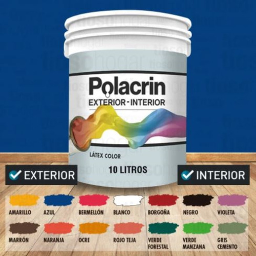 Pintura Premium Polacrin 10 Lts Bermellon Alto Rendimiento