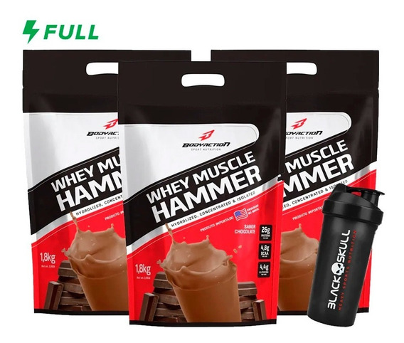 Kit 3x Whey Muscle Hammer 1,8kg Cada + Brinde - Body Action