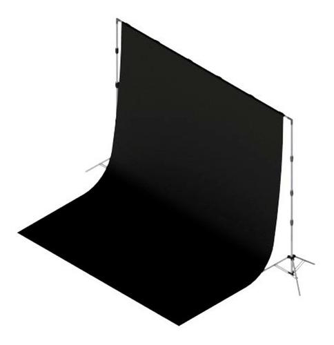 1 Tecido 3x2 Preto + Suporte Fundo Infinito Fotografia Fotos