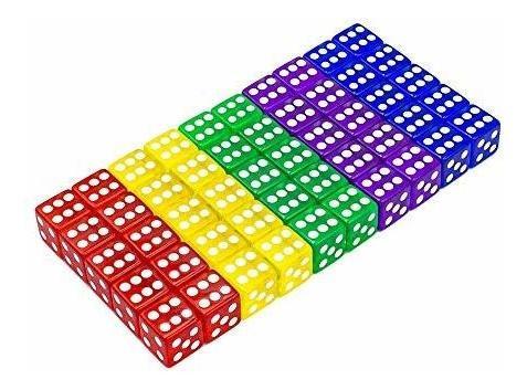 Juego De Dados De 50 Piezas 5 Colores Translúcidos 6 Lados