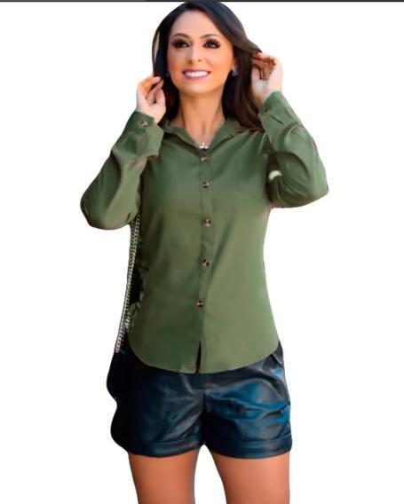 Blusa Manga Longa Flare Ilhós Camisetas Femininas Decotadas