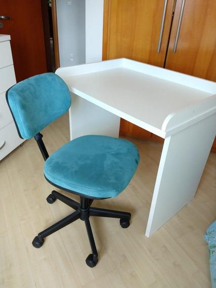 Escrivaninha Branca Em Mdf Semi Nova Cadeira É Opcional
