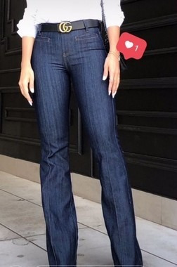 Calça Jeans Flare Alfaiataria Cintura Media
