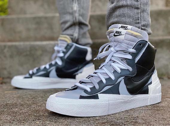Nike X Sacai Blazer Mid Black Grey (40 Br) Original C/ Nf