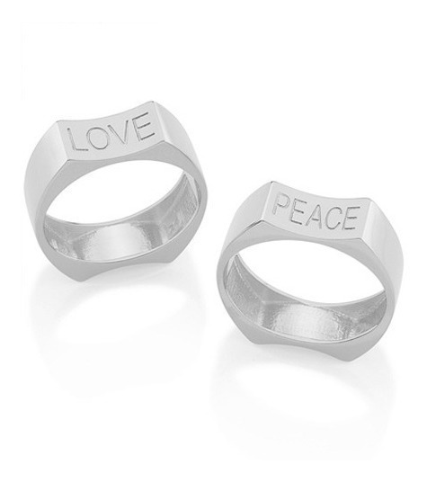 Anel Com 2 Lados Love E Peace Unissex Joia Rommanel 110791