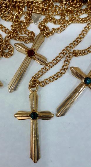Kit 05pçs De Crucifixo Dourado Com Corrente