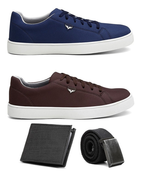 Combo 2 Pares Tenis Masculino Sapatenis Casual Cinto Carteir