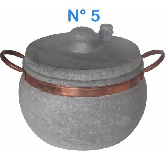 Panela De Pressão N°5 Em Pedra Sabão Com Alças De Cobre