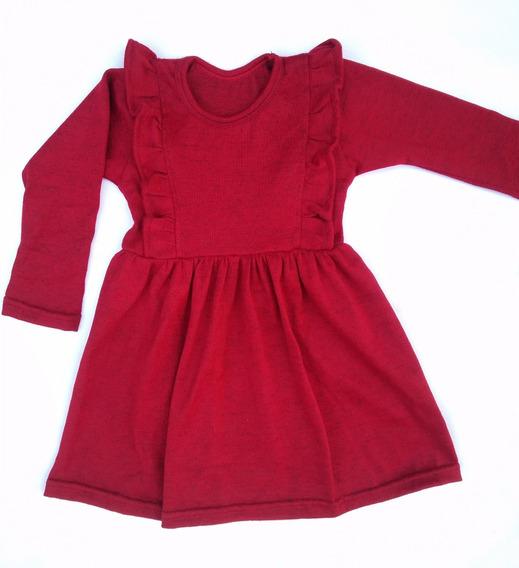 Vestido Tiki Lanilla Roja Niña Infantil Talles 2 Al 12