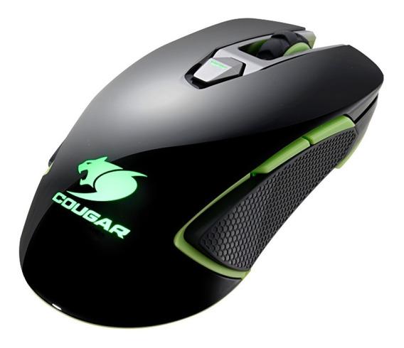 Mouse Gamer Cougar 5000dpi 8 Botões Com Led Preto E Verde