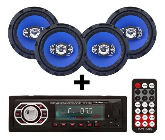 Kit 4 Falante 6 Pol + Radio Carro Mp3 Usb Bluetooth + Antena