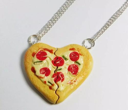 Collares Pizza Corazon Pareja Salami Amor Amistad Kawaii Mercado Libre