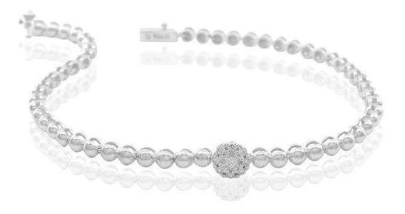 Pulseira Meia Bola Ouro 18k Branco Diamantes - Cod 16328