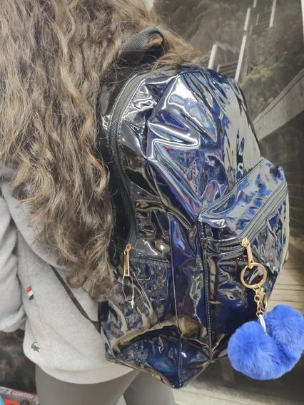 Mochila Escolar Espelhada Azul/prata
