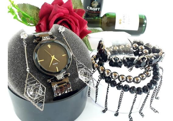 Relógio Feminino + Brincos + 3 Pulseiras + Bateria Reserva