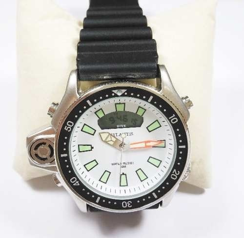 Relógio Masculino Atlantis A3220 Aqualand Jp2000 Branc Borr