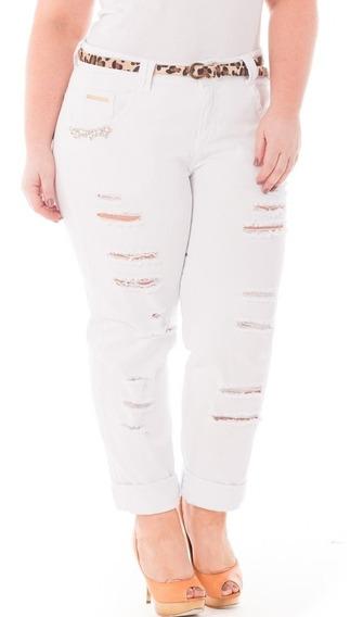 Calça Feminina Jeans Rasgada Tamanhos Grandes Plus Crj316